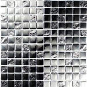 SATURN SILVER MIX GLASS MOSAIC TILE 23 X 23 X 8CM