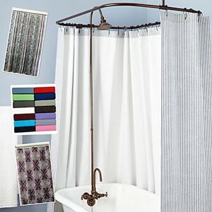 Image Is Loading Shower Curtains Fabric And Vinyl Sets Many Styles
