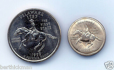 Uncirculated 1999D DE Quarter, magnetically SHRUNK to about diameter of a dime!