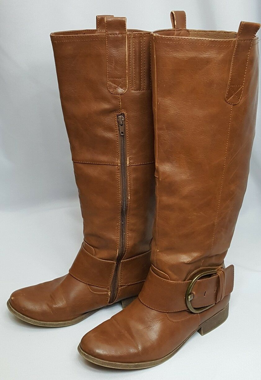"Just Fab Fabiola Side Zip Knee High Buckle Detail Riding Boots Size 8.5W 1"" Heel"