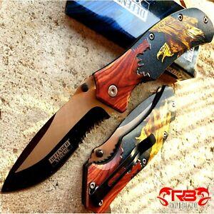 "8.5"" TACTICAL Spring Assisted Open Pocket Knife FOLDING Blade Eagle Wood Handle"