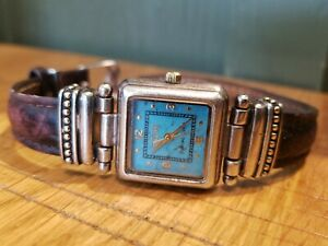 Ecclissi Sterling Silver Turquoise Dial Watch Brown Leather Band 22490