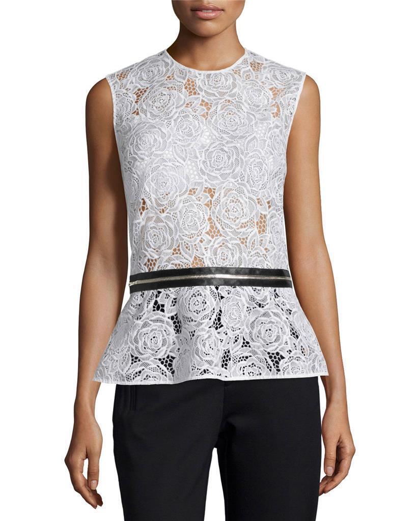 NEW McQ Alexander McQueen Lace Zip-Trim Peplum schwarz Weiß Top US 4 IT 40  S