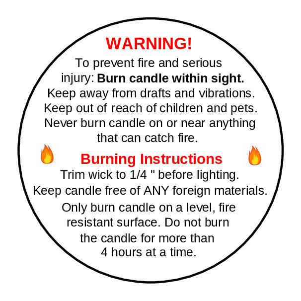 192 X Candle Warning Labels. Burning Safety Stickers. 45mm