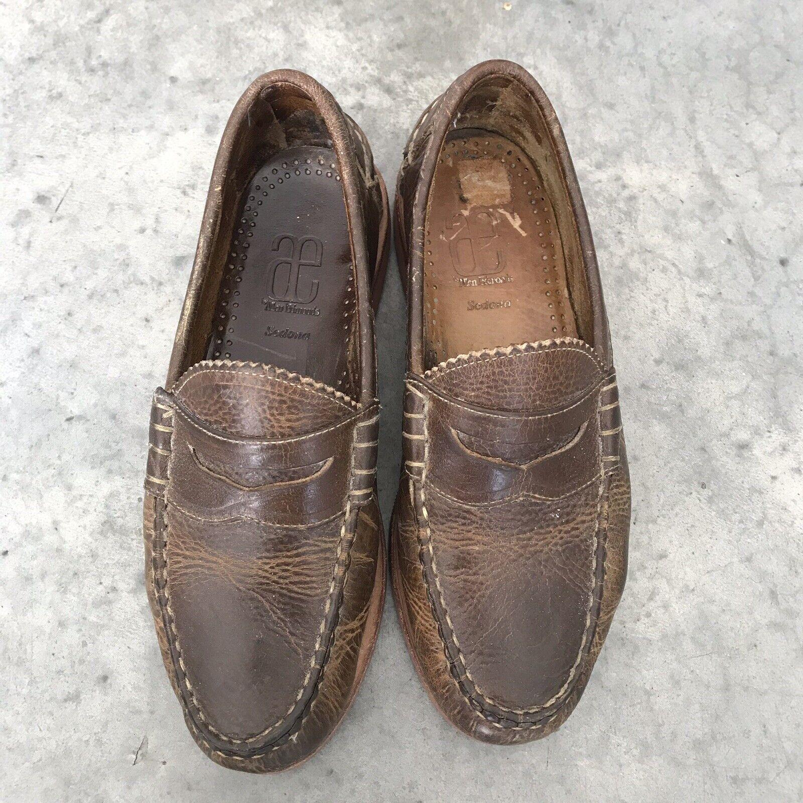 Allen Edmonds Sedona Marrón Cuero Hombre PENNY Mocasines pennyloafers Zapatos 7D 7 D