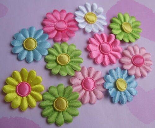 12 x Blüten Satin 3,0 cm Scrapbooking  Basteln 6 Farben