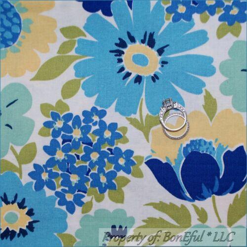 BonEful Fabric FQ Cotton White Blue Green Yellow Flower Shabby Cottage Chic RARE
