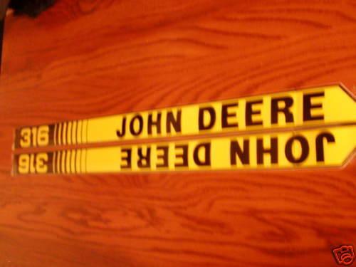 John Deere New 316 onan Hood Decals
