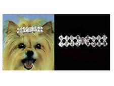 ARIA - CLASSIC RHINESTONE DOG PUPPY BARRETTE - DOUBLE ROW