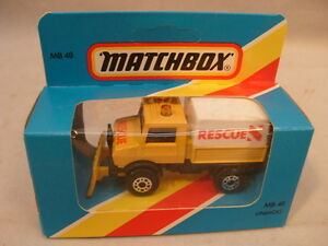 1981-MATCHBOX-LESNEY-SUPERFAST-MB48-RESCUE-UNIMOG-WITH-PLOW-BLUE-BOX-NEW-IN-BOX