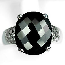 Sterling Silver 925 Genuine Natural Oval Cut Black Spinel Ring Size M (US 6.25)