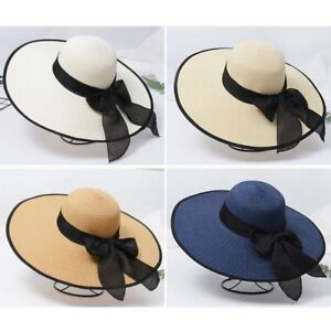 5d90f294b01b3 Women Wide Large Brim Cap Floppy Fold Summer Beach Sun Hat Straw ...
