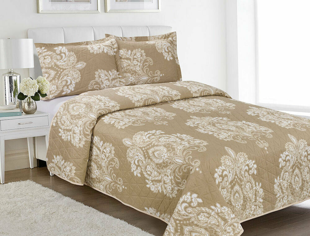 Three (3) Piece Embossed Printed Bedspread Set- Tan and Cream Jacquard -Queen