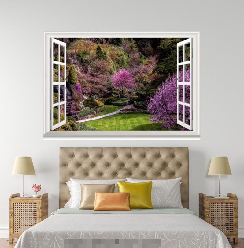 3D lila Flowers Lawn 128 Open Windows WallPaper Murals Wall Print AJ Carly