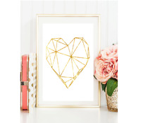 Geometric Heart Gold Foil Print Vintage Foil Rose Gold Wall Art