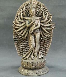 China-Tibetan-Buddhism-Temple-Silver-1000-Arms-Avalokiteshvara-of-Goddess-Statue