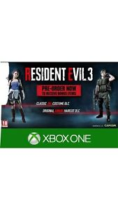 Resident Evil 3 Remake Xbox One Preorder Dlc Code Only Classic