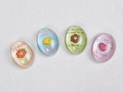 Inspirational Memo Magnets ~ Set of 4 Domed Acrylic w//Embedded Charms ~ Set #B