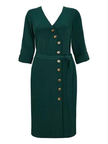 New Ladies Ex Wallis Asymmetric Wrap Dress Button /& Self-Belt Size 8-20 RRP £35