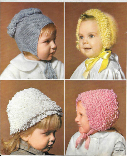 Vintage Knitting Pattern Patons 9831 Hats Baby Girl Loopy Stitch 6