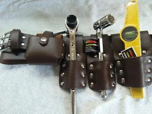 SCAFFOLDING-Brown-LEATHER-BELT-Heavy-Duty-Full-Tool-set-ratchet-Spanner-17-21