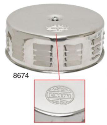 "EMPI VW Bug 4/"" Tall//5-1//2 Round Chrome Air Cleaner stock  2/"" Neck w//GAUZE 9045"
