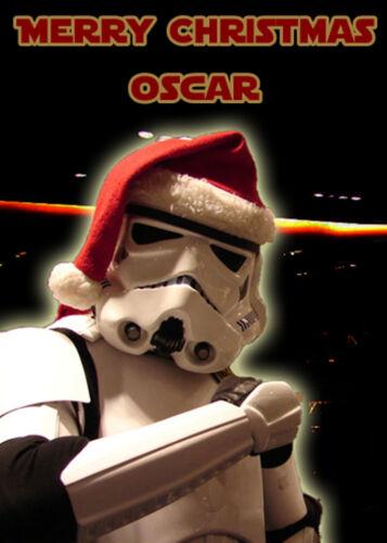 Star Wars Clone Trooper personnalisé Carte de Noël-Ajouter Votre Propre Nom