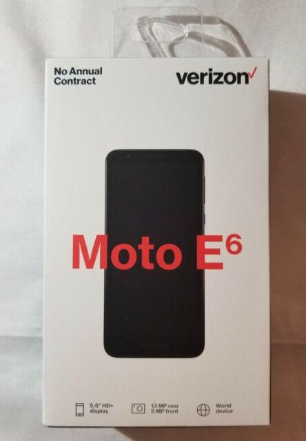 Verizon Motorola Moto E6 Prepaid Smartphone Cell Phone 4G LTE Starry Black 16GB