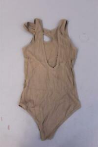 Nasty-Gal-Women-039-s-Cut-Out-The-BS-Ribbed-Bodysuit-CD4-Taupe-Size-US-8-UK-12-NWT