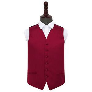 DQT-Satin-Plain-Solid-Burgundy-Formal-Tuxedo-Mens-Wedding-Waistcoat-S-5XL