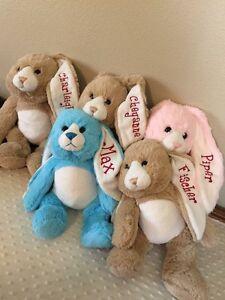 EASTER BUNNY, BIRTHDAY, BABY GIFT FOR KIDS/INFANTS. NAME MONOGRAMMED ON EAR. NEW
