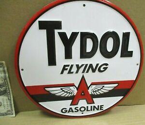 "FLYING A - Tydol Gasoline - SHOWS OLD ""A"" LOGO Service Station - ROUND PUMP SIGN"