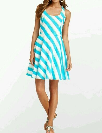 Lilly Pulitzer Zo Dress Turquoise Striped Dress Größe 4 Cotton