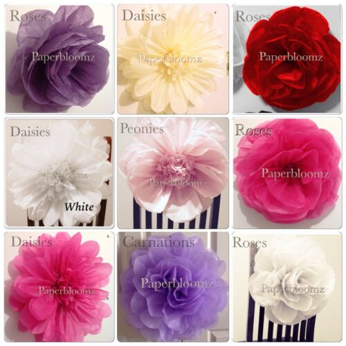 Paperbloomz Large Tissue Paper Flowers x 5 Wedding Events Back Drops Wall Decor