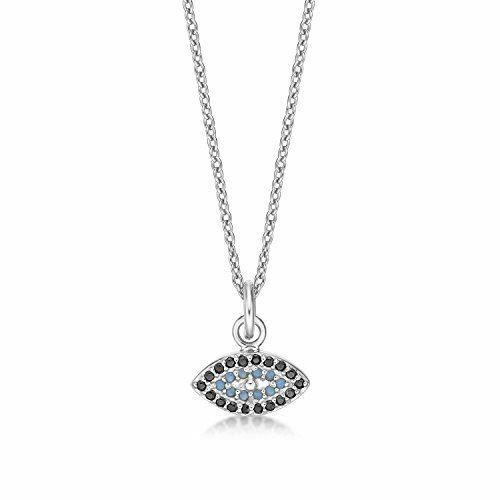 Diamond Treats 925 Sterling Silver Evil Eye Pendant Necklace 18-20 Inch Zirconia