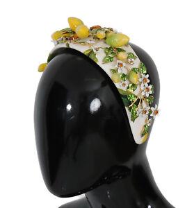 Le Prix Le Moins Cher Nouveau $1900 Dolce & Gabbana Diadème Bandeau Or Laiton Jaune Citron Cristal Floral-afficher Le Titre D'origine Remises Vente