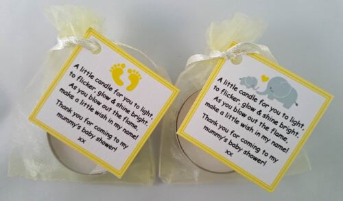 BLUE PINK YELLOW ELEPHANT BABY SHOWER CANDLE FAVOURS VANILLA SCENTED TEALIGHT