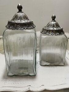 Bonboniere-24-28-cm-Aufbewahrungsglas-Dekel-aus-verziertem-Metall-durchsichtig