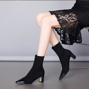 Women-Velvet-Block-Heel-Side-Zip-Ankle-Boots-Pointed-Toe-Casual-Fashion-Shoes