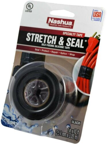 Stretch and Seal Self-Fusing Silicone Tape in Black x 3.33 yd Nashua Tape 1 in