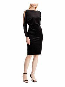 RALPH LAUREN Womens Black Long Sleeve Knee Length Sheath Evening Dress Size: 14