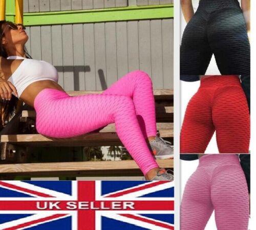 Women Yoga Gym Anti-Cellulite Leggings Fitness Solid Butt Lift Elastic Pants UK