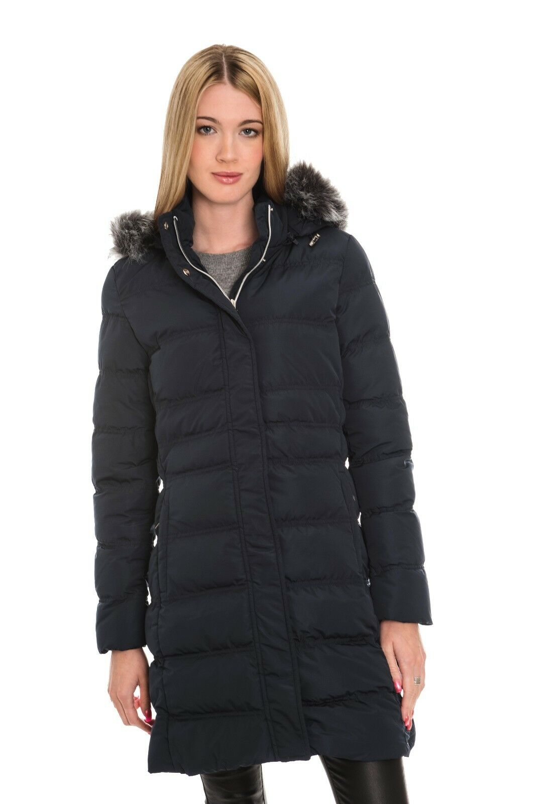 Rino & Pelle Women's Roanna Quilted Long Coat - Navy bluee