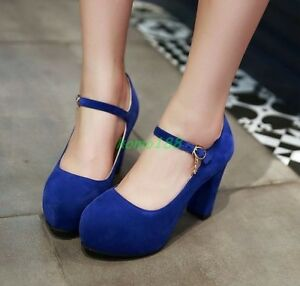 Womens-Faux-Suede-Wedge-Heel-platform-Round-Toe-Pumps-Ankle-Strap-Party-Shoes