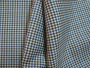 2-77-yd-English-WOOL-Super-140s-FABRIC-8-5-oz-Suiting-Brown-Blue-check-100-034-BTP