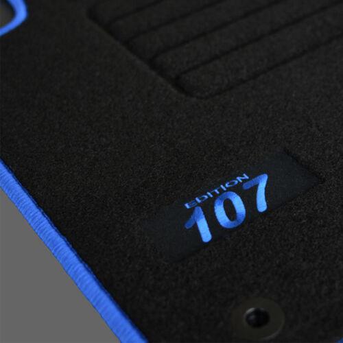 TAPIS SOL PEUGEOT 107 PHASE 1 2005-2008 1.0 1.4 MOQUETTE LOGO BLEU SPECIFIQUE
