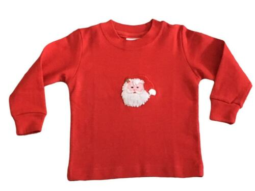 Christmas T-Shirt Unisex Kids Long Sleeve Santa Claus Applique Holiday New
