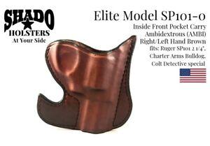 SHADO Leather Holster USA Elite Model SP101-0 AMBI Pocket Holster Brown Ruger SP