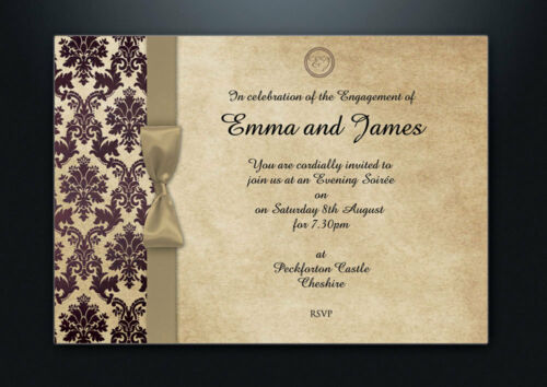 PERSONALISED DAMASK WEDDING DAY /& EVENING INVITATIONS WITH ENVELOPES /& P/&P