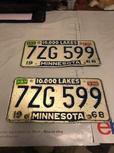 1968 MINNESOTA LICENSE PLATES PAIR WITH 69/70 STICKERS 7ZG 599 | eBay
